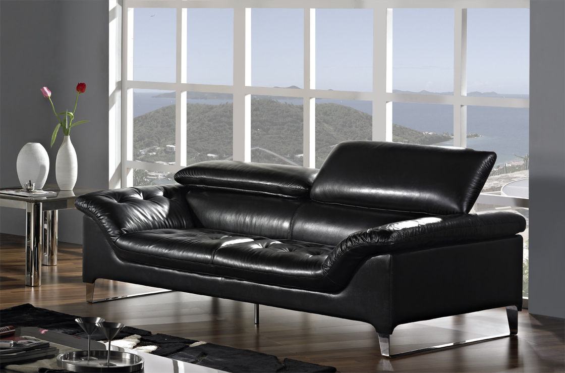 Contemporary Black Leather Sofa Set Gorgeous Contemporary