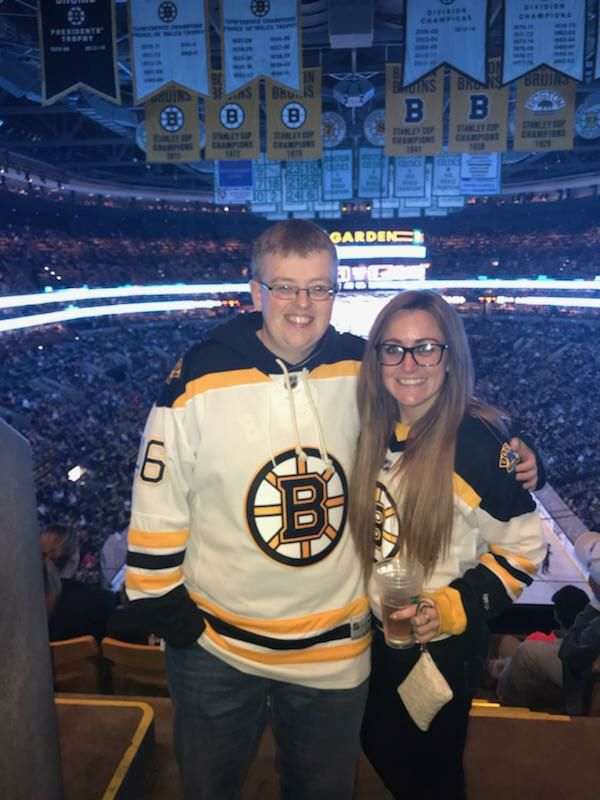 me and my bestie at bruins caps