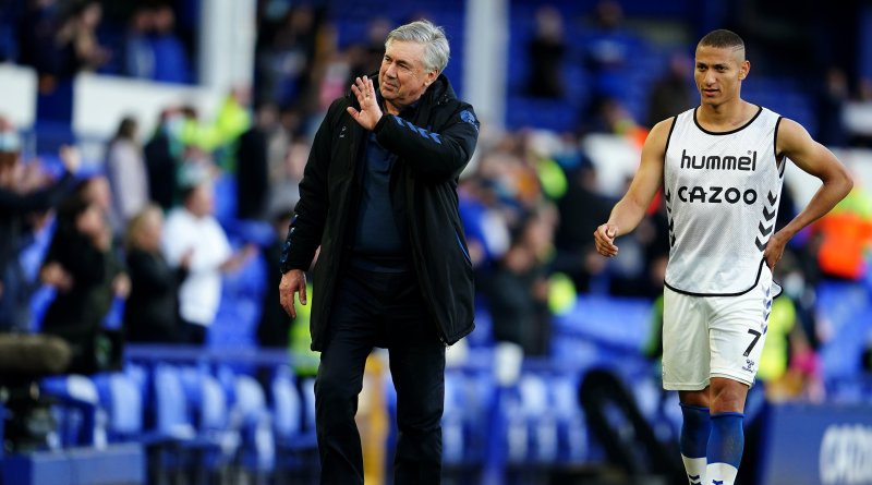 Carlo Ancelotti, the new manager of Real Madrid, with Richarlison after Everton's 1-0 victory over Wolves on May 19th