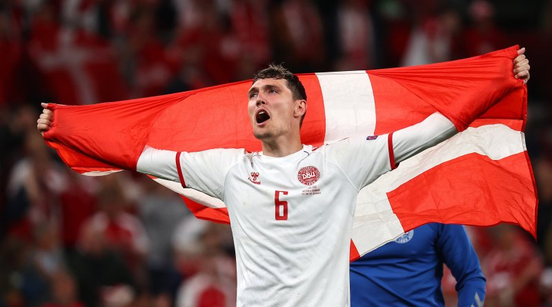 Andreas Christensen of Denmark celebrates after his late goal helped propel the Danes to a statement win over Russia