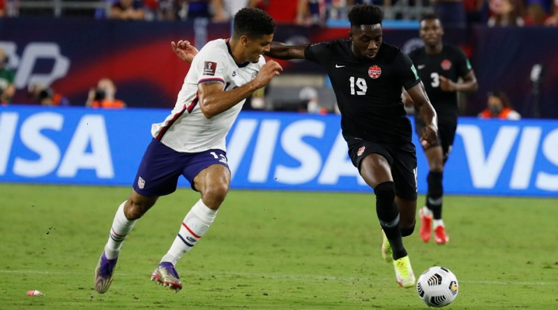 CONCACAF foes Miles Robinson and Alphonso Davies go head to head as the USA took on Canada on September 5th