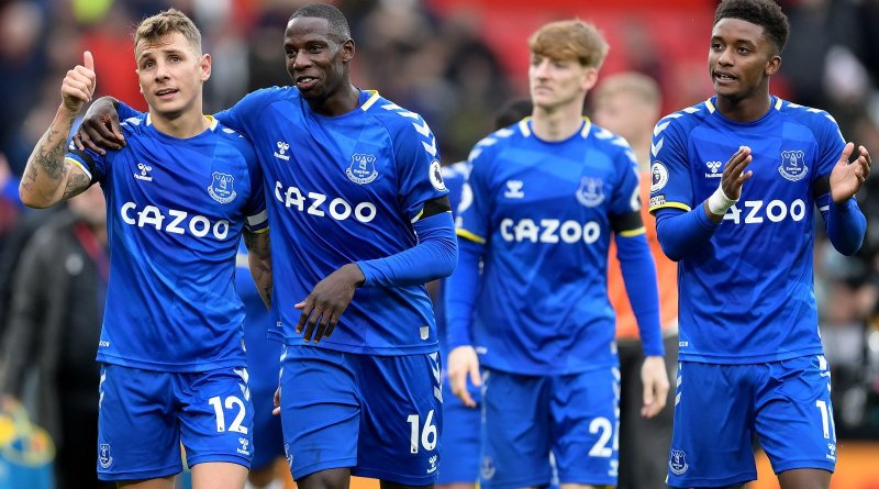 Everton will be without Abdoulaye Doucoure for the next month and a half, pictured here embracing his countryman Lucas Digne after a recent draw with Manchester United