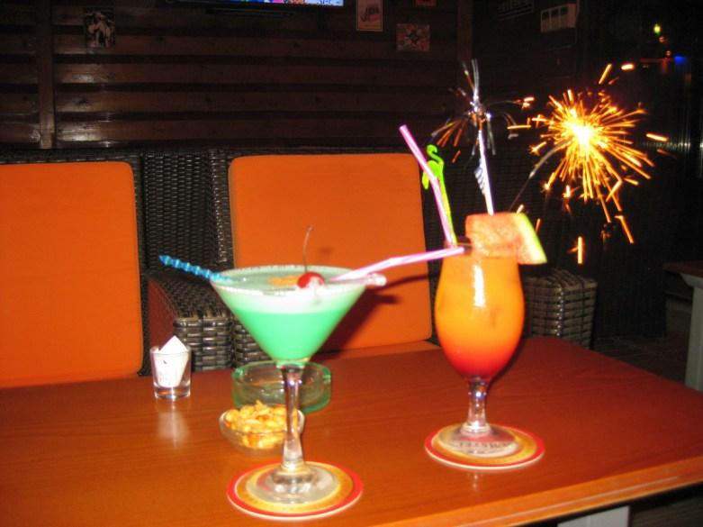 Grasshopper and a tequila Sunrise at Kivotos