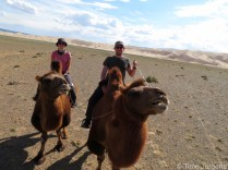 Camel trip sanddunes Gobi desert Mongolia