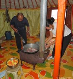 Cooking inside the ger Gobi Mongolia