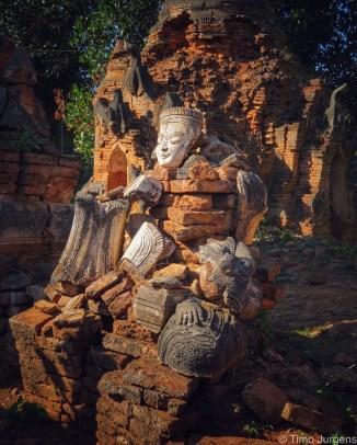 Broken Pagodas at Inthein Inle Lake Myanmar