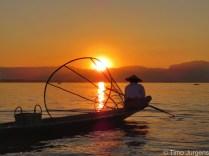 Sunset fisherman at Inle Lake Myanmar