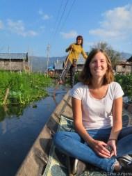 Traditional Rowing at Maing Thauk Village Inle Lake Myanmar
