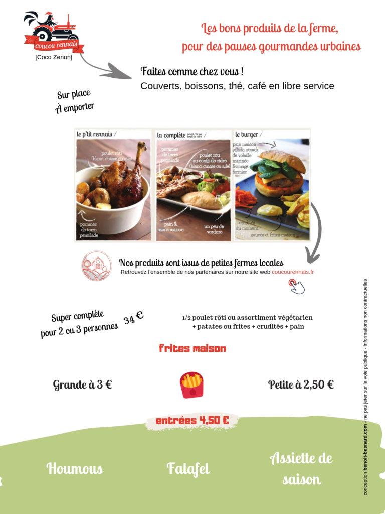 Le menu du Coucou Rennais