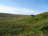 Trying to find the easiest way to approach the bothy. No paths here.