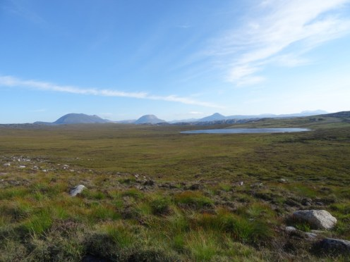 Almost home. Sutherland hills lined up on the skyline - Foinaven, Arkle, Ben Stack, Quinag (L-R).