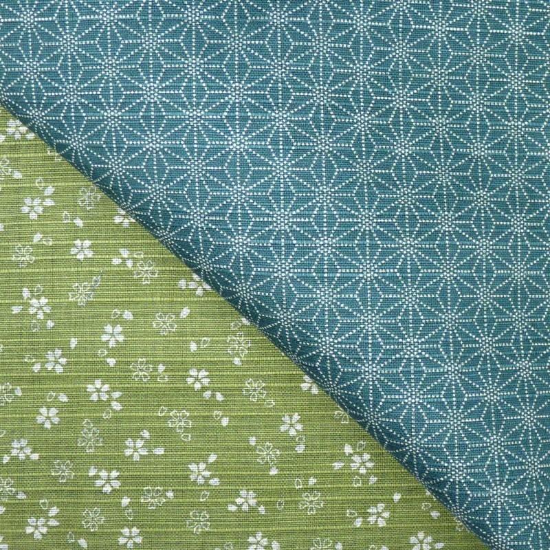 tissu japonais reversible furoshiki sakura vert mousse bleu canard