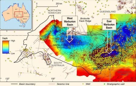 East Warburton cratère d'impact et structure