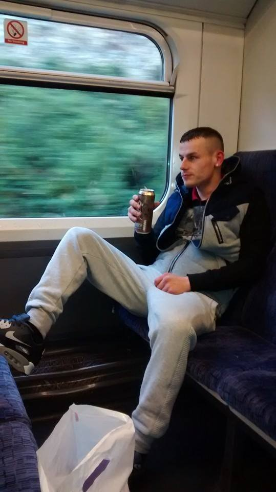 Joggers train lad with a tin