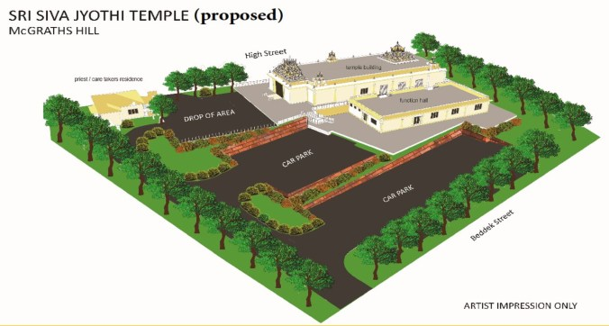 The proposed Hindu temple, Mcgraths Hill
