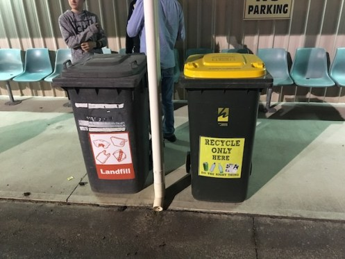 Recycling bins at showground