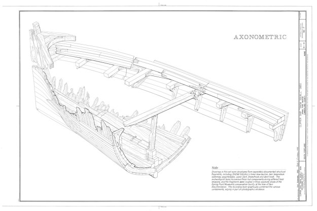 This and other drawings were developed from separately documented fragments including the lower bow section, two 'tweendeck waterway assmemblages, upper stern, breathook and deck hook.  The recording tea graphically combined the various components, relying in part on photographic evidence. Drawing by  Karl Bodensiek and Todd Croteau