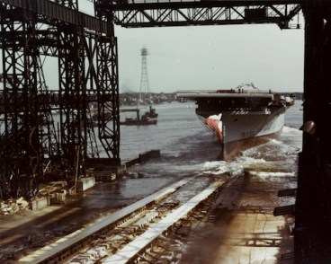 The launch of the USS Lexington at the Bethlehem Steel Company shipyard in September 1942.  U.S. Navy photo in National Archives Collection.