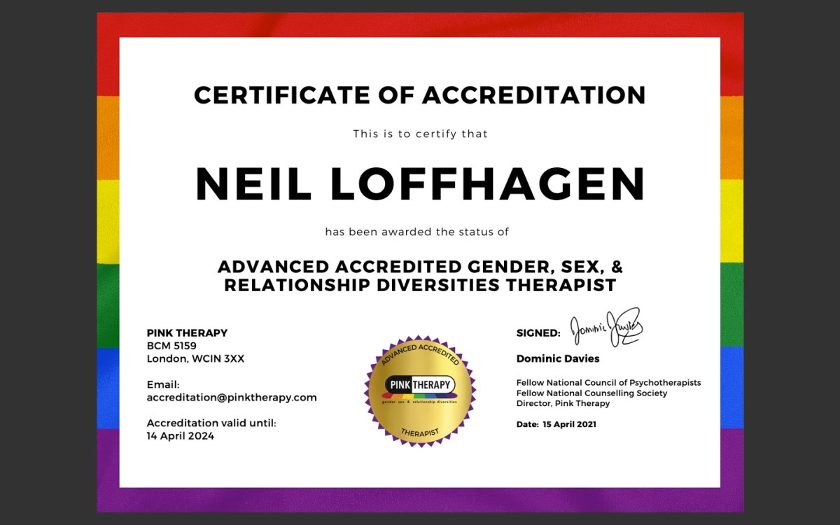 "Attaining ""Advanced Accredited Gender, Sexuality and Relationship Diversities Therapist (Pink Therapy)"""