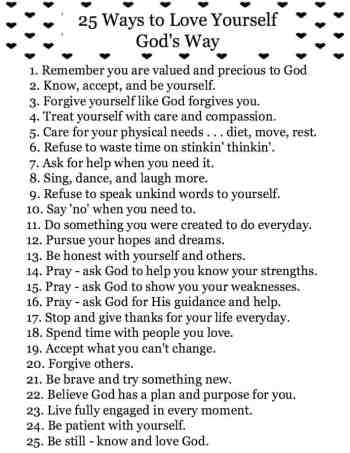 25 Ways to Love Yourself God's Way