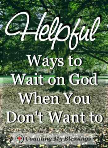 God's patience with me doesn't depend on my ability to wait well. He always meets every need in His perfect timing. Always has and I trust He always will.