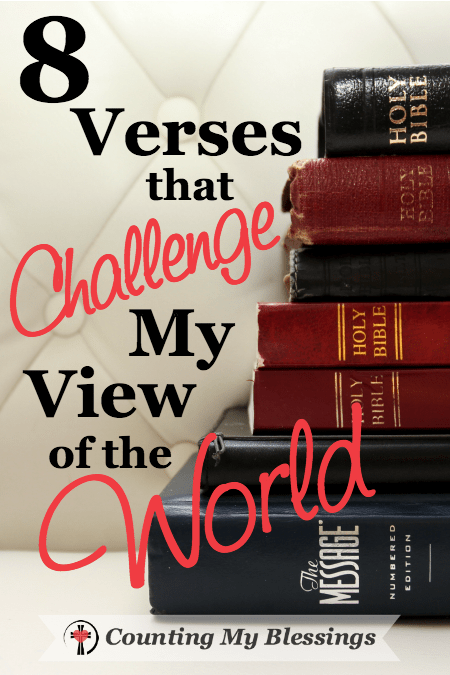 "I'm looking at verses from God's Word and their influence on my world view. A challenge to myself about ""following the crowd"" or following God's love."