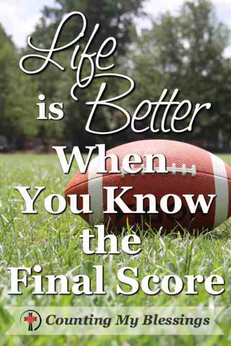 There seems to be an epidemic of discouragement! Countless people who worry about the final score and wonder if they should just walk away. Don't give up!