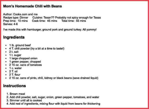Chili Recipe - Sue Moore Donaldson - Welcome Heart