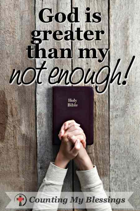 "A woman praying with her Bible asking God to be greater than her ""not enough."" #Bible #Faith"