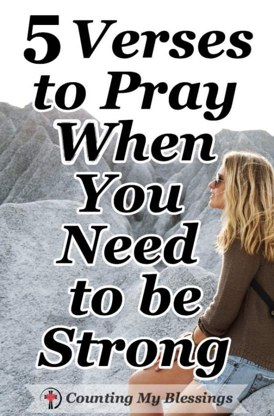 When the challenge your facing feels overwhelming and it's hard to be strong, it's time to pray. These 5 Bible verses and prayers will help when it's hard for you to find the words. #Prayer #Faith #BeStrong #Hope