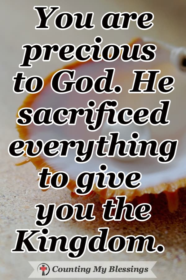 Jesus said the Kingdom of God was like a merchant who sold everything to get a precious pearl. You are that priceless precious pearl! #KingdomofGod #YouarePrecious #GodLovesYou #WWGGG #CountingMyBlessings