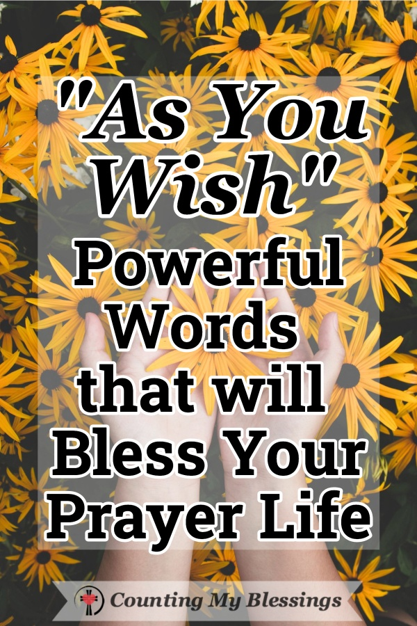 """As you wish"" are three powerful words to pray to commit to trusting God's goodness and love when we wait on Him to answer our prayers and meet our needs. #Prayer #PrincessBride #Asyouwish #Faith #God'sgoodness #TrustGod'sLove #CountingMyBlessings #WWGGG"