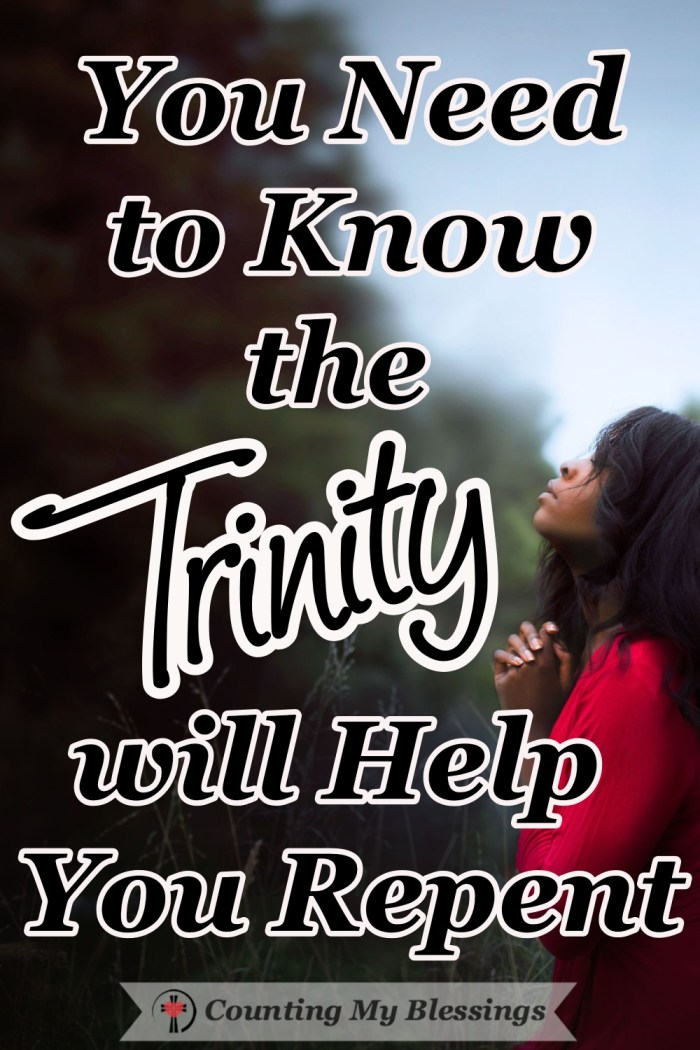 There is a difference between confession and repentance and we need God, the Trinity, to help us truly repent and turn our hearts and minds to His better way. #Trinity #TriuneGod #Faith #BibleStudy #Prayer #CountingMyBlessings #WWGGG