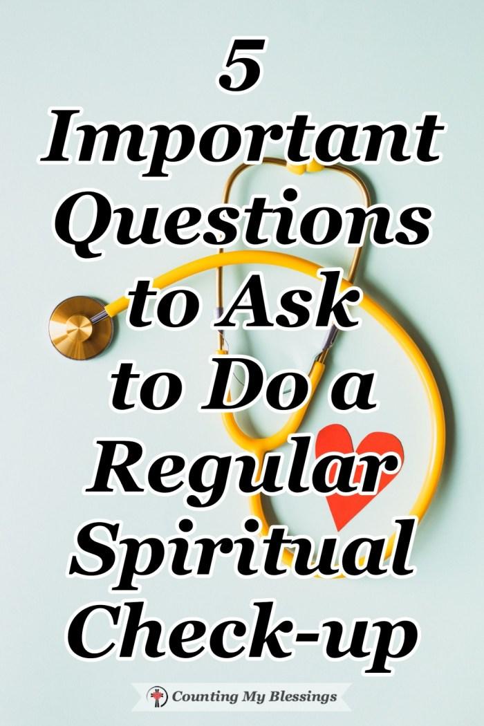 Just like a physical check-up, it is important to have a spiritual check-up. These questions will help you check your spiritual health. #spiritualhealth #BibleStudy #FaithinJesus #Blessings