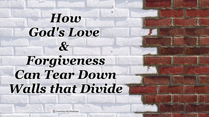Jesus lived died and rose again to tear down the walls that divide us from God and from each other. Through Him, we are loved and able to love each other. #Equality #LoveandForgiveness #Blessings