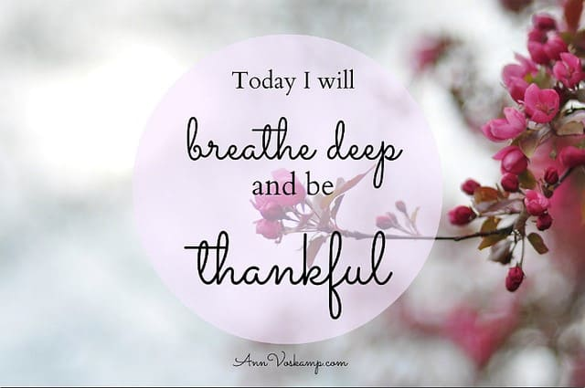 Breathe deep and be thankful