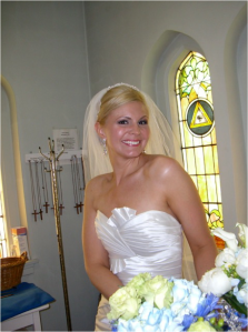 The gorgeous bride right before her walk down the aisle!