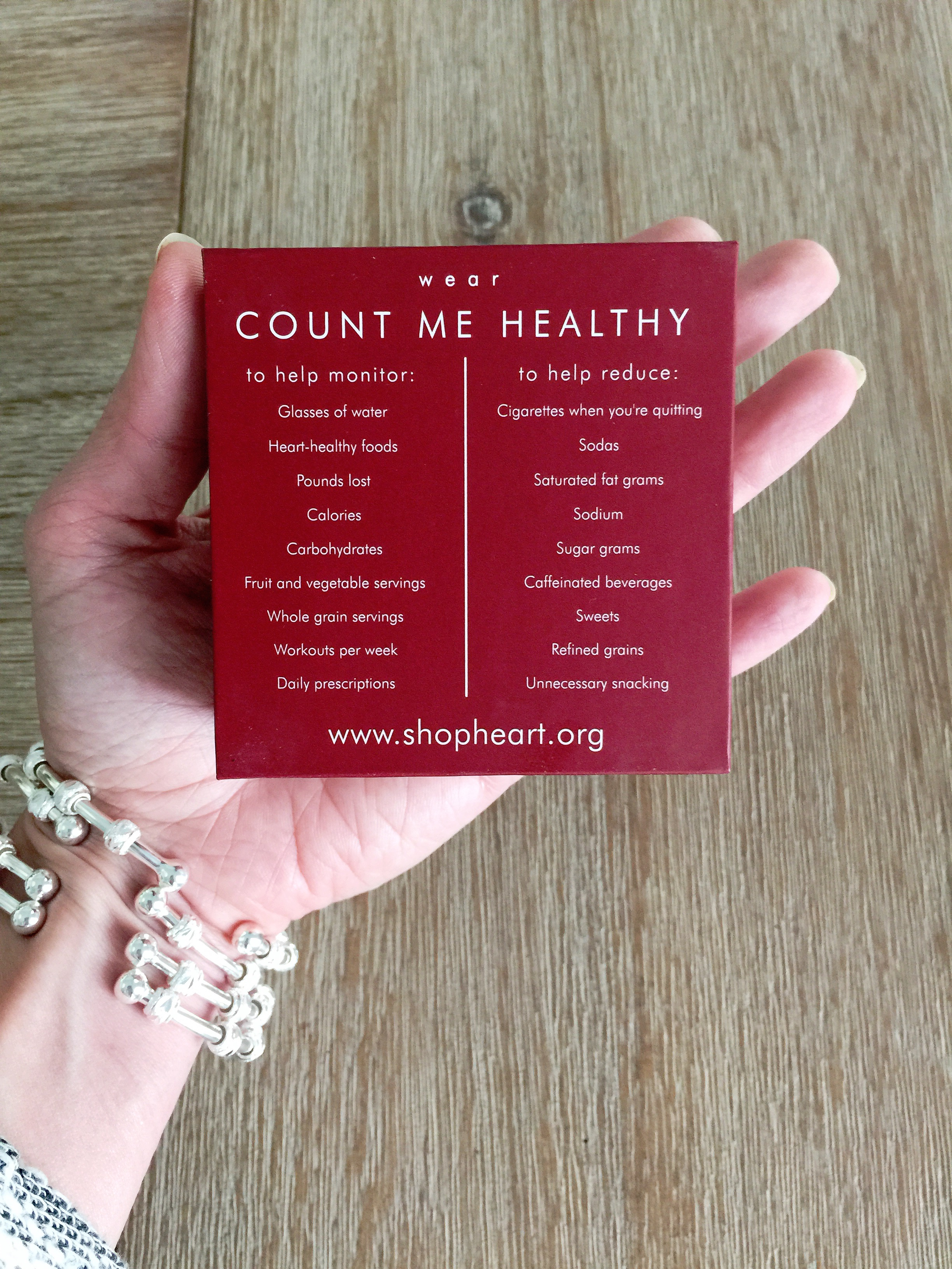 Count Me Healthy Helping Hearts Journal Bracelet for the American Heart Association