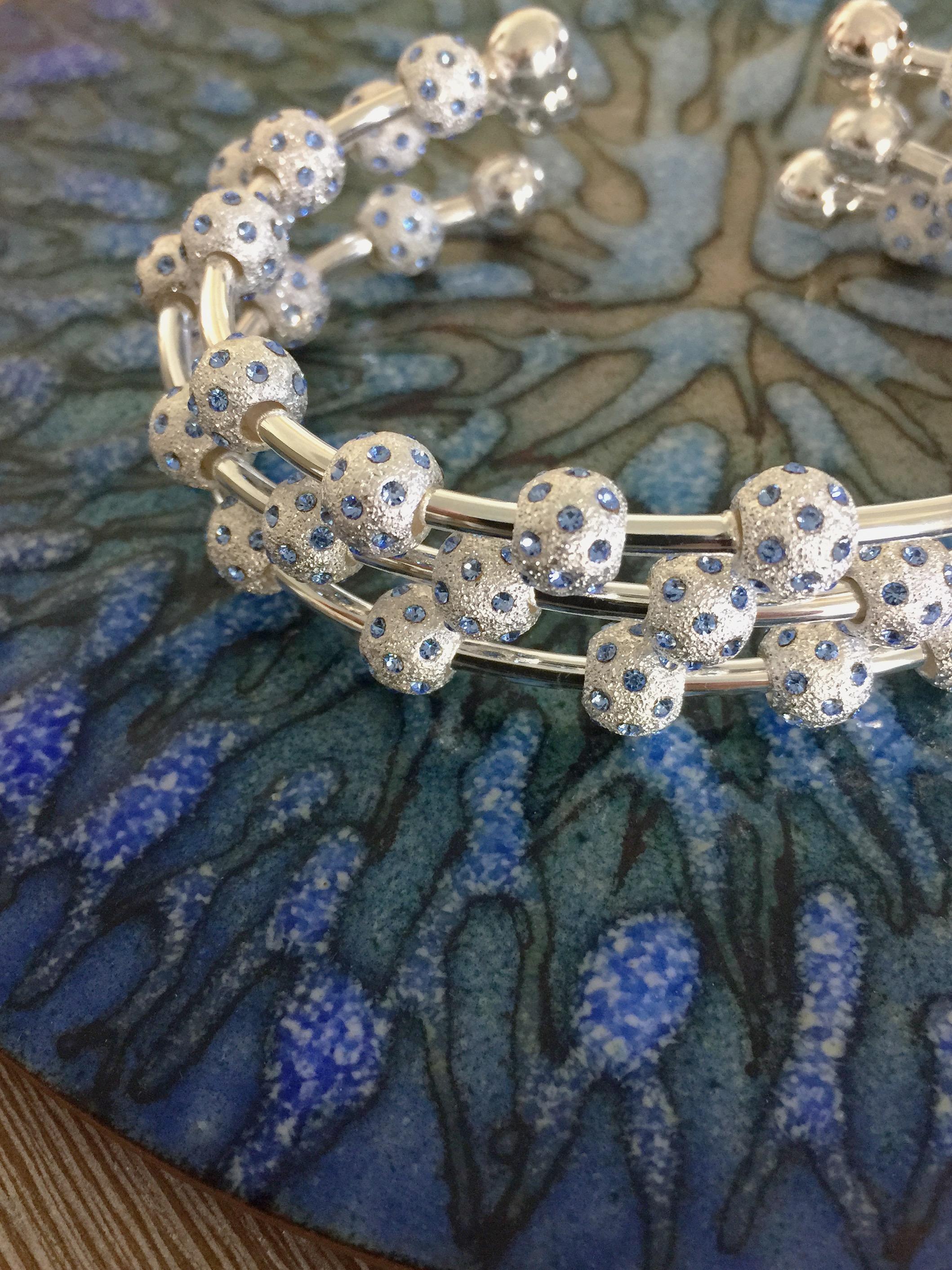 Pale Sapphire Count Me Healthy Watercolor Crystal Bracelets