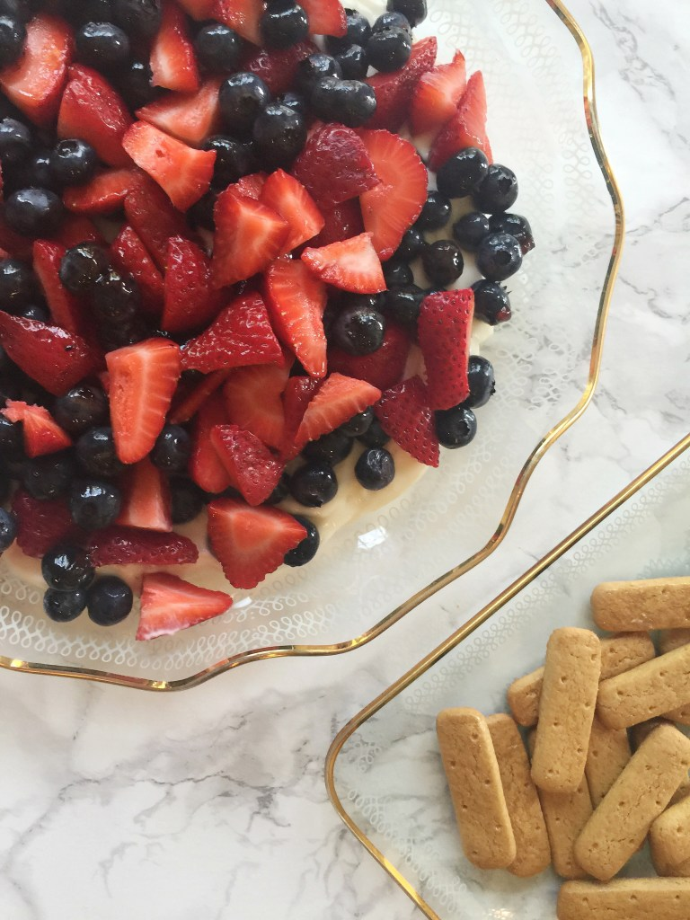 Chelsea Charles recipe for red, white and blueberry cheesecake dip via Count Me Healthy