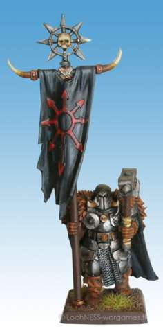 The banners of the Chaos Warriors feature the feared eight pointed star of Chaos