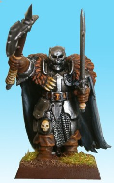 The skull faced helm of this warrior looks rather manacing