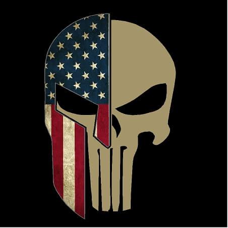 American Flag Spartan Helmet Punisher Skull Vinyl Decal