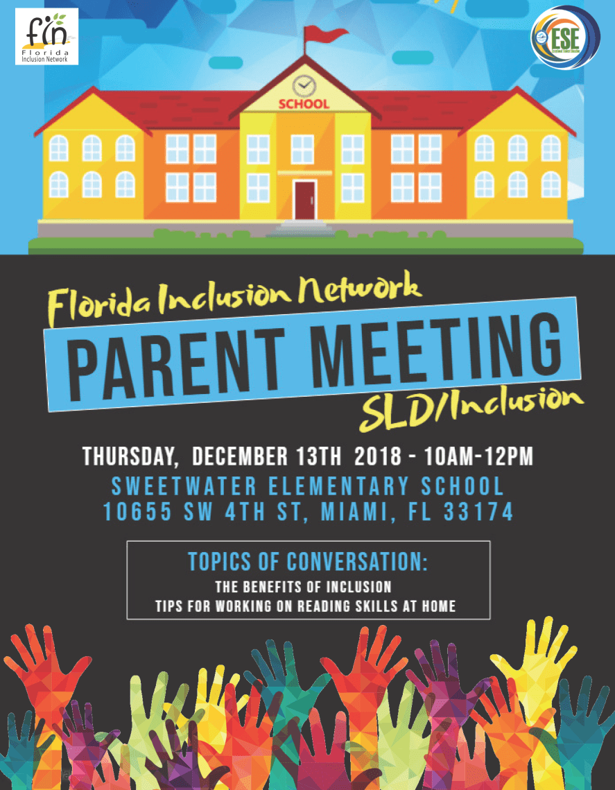 Florida Inclusion Network Parent Meeting Flyer