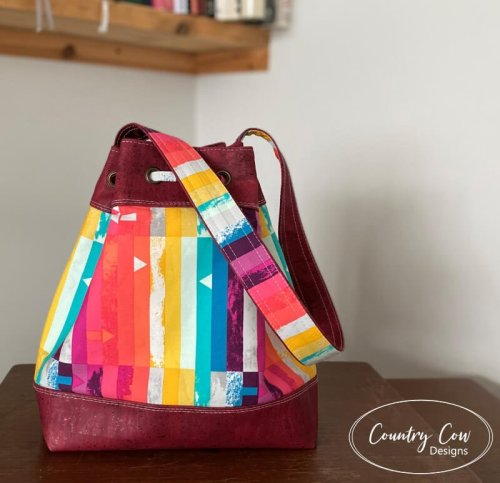 Back View Deyjon Drawstring Bucket Bag by Country Cow Designs