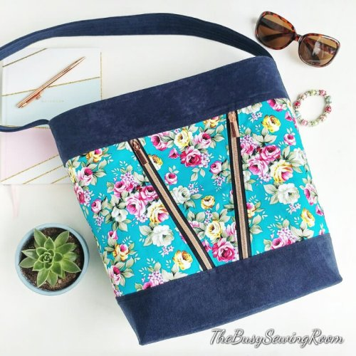 Deyjon Zip Top Bucket Bag Made by The Busy Sewing Room