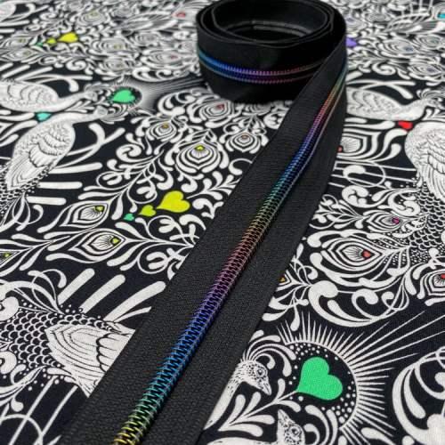 Black Rainbow Zipper Tape