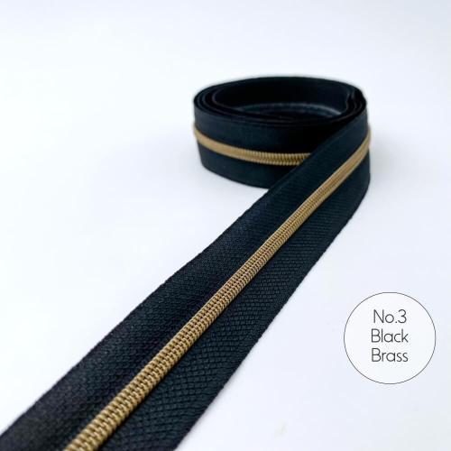 No.3 Brass Black Zipper Tape