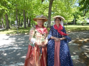 Fran Hendrickson and Patricia Campbell at a Colonial Day at a school
