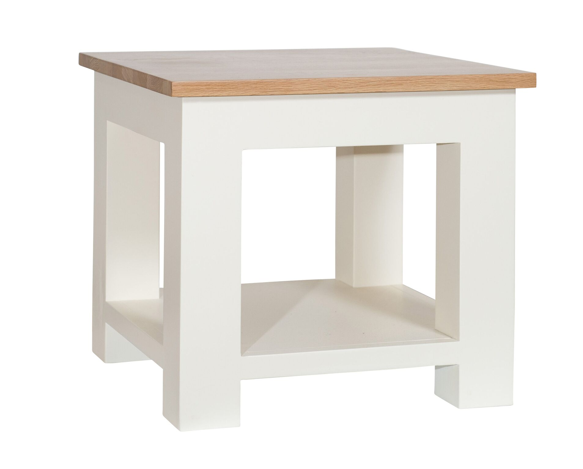 Cream Painted Oak Top Lamp Table With Shelf